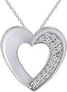 925 Sterling Silver White Rhodium Plated Cz Heart Pendant Necklace 18-inch Chain