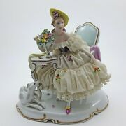 Dresden Lace Lady Love Letter And Whippet Greyhound Borzoi Figurine Unterweissbach