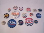 17 Vintage Political Lapel Pins/ Buttons - Kennedy, Nixon, Goldwater And More Bba7