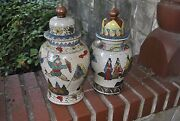 Pair Of Very Old Antique Ceramic Chinese Mongolian Ginger Jars