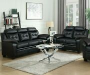 Modern Casual 2-piece Plush Faux Leather Sofa Set With Couch And Loveseat Black