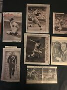 1960' Mickey Mantle 7 Diff. Paper Captions And Neg. From Original Press Photos