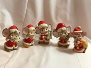 3 Homco Vintage Christmas Figurines Mice Mouse And 2 Unknown Mice