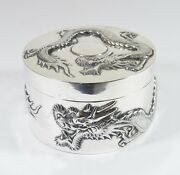 Large 245 Gr Antique Chinese Export Silver Trinket Box Dragon Sun By Sing Fat