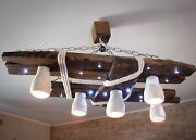 Wooden Chandelier With Led Spots And Shades Of Cotton Rope Ceiling Light Lamp