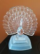 Peacock Figurine Frosted Glass Base Jg Durand Crystal Dandrsquoarques France