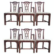 Vintage Set Of 6 Chippendale Fretwork Dining Chairs Straight Leg With Blind Fret