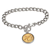 New 24kt Gold Plated Hummingbird Coin Silvertone Toggle Bracelet 15319