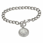 New Silver Seated Liberty Dime Silvertone Coin Toggle Bracelet 15314