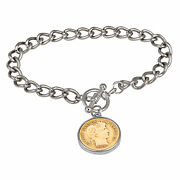 New 24kt Gold Plated Silver Barber Dime Silvertone Coin Toggle Bracelet 15316