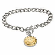 New 24kt Gold Plated Silver Seated Liberty Dime Silvertone Coin Toggle Bracelet