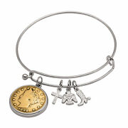 New Western Charm Silver Tone Gold Layered Liberty Nickel Coin Bangle Bracelet