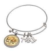 New Western Charm Silver Tone Gold Layered Bison Nickel Coin Bangle Bracelet