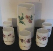 6 Pcs Antique Heisey Milk Glass Beaded Swag Pat C1900 Water Pitcher W/ 5 Glasses
