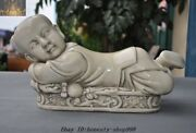 13 Old Chinese Dehua White Porcelain Boy Statue Pillow Weeping Willow Occipital