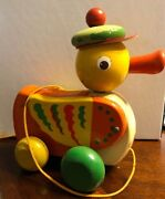 Collectible Vintage Walter Wooden Pull Toy Duck - Made In West Germany