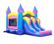 Pink Jump Castle Commercial Inflatable Bounce House Dual Lane Dry Slide Combo