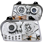 Anzo For 2005-2010 Chrysler 300 Projector Headlights W/ Halo Chrome - Anz121136