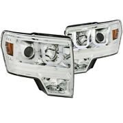 Anzo For 2009-2014 Ford For F-150 Projector Headlights W/ U-bar Chrome Amber Hi