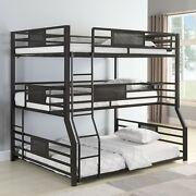 Modern Youth Teen Adult Space Saver 3 Tier Metal Bunk Bed Full/txl/queen Size