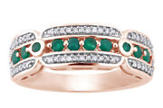 1/5ct Green Round Emerald And White Diamond 10k Rose Gold Ring Size 6 To 8