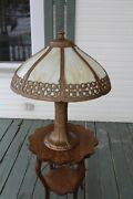Large Antique Slag Glass Shade Table Lamp Arts And Crafts Mission Style Gothic