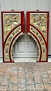 Pair Antique Chinese Gilt Wood Carved Opposing Temple Doorway Panels W/ Warriors