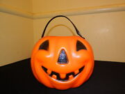 Vintage 1960and039s Plastic Halloween Pumpkin Candy Container