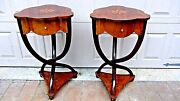 Pair English 1950c Rare Inlaid Lacquered Bentwood Pedestal Side Tables W/drawers