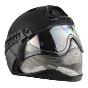 Warq Full Face Airsoft/paintball Safety Helmet Black