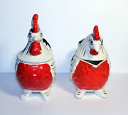 Vintage Made In Japan, Cream And Sugar Chicken, Rooster, Salt And Pepper Set