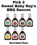 Pick 2 Sweet Baby Ray's Barbecue Sauce Bottles Mix And Match Bbq Flavors