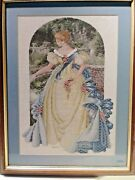 Queen Anne. Pearls Lady Cross Stitch Needle Point Folk Art Needlepoint Framed