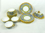 Ravello Pottery 4 Tea Cups Saucers, 4 Salad Plate And Butter Dish Hand Painted