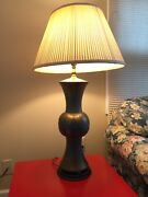 Rare Antique Chinese Pewter With Brass Inlay Baluster Vase Transformed Lamp