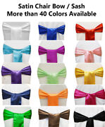10 Satin Chair Bow Sash Tie Band For Wedding Party Venue Decoration - Free Ship