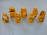 Antique Japanese Quality Material Figurines Shichifukujin 7 Lucky Gods Fortune