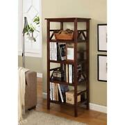 Titian Antique Tobacco Open Bookcase W/ 4 Shelves Modern Home Office Furniture
