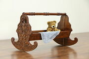 Italian Antique Hand Carved Walnut Rocking Baby Cradle Bed 30479