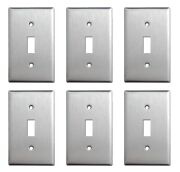 6 Pack Single Toggle Brush Satin Nickel Stainless Steel Wall Cover Switch Plate