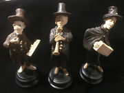 3 German 19th Century Carved Wooden Musicians Figurines