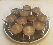 11 Wmf Art Nouveau Ostrich Mark Silver Plate Drinking Cup Holders Glass Inserts