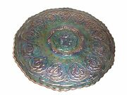 Fenton Persian Medallion Carnival Glass Footed Plate, Purple-green Iridescent