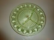 Vintage Hocking Colonial Pattern Green Depression Glass 3-section Grill Plate