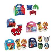 Paw Patrol/spiderman/marvel Masks Birthday Party Food Meal Box And Card Face Mask