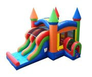 Commercial Inflatable Bounce House Dual Lane Dry Slide Rainbow Jump Castle Combo