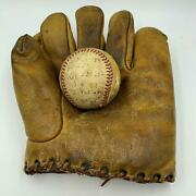 1937 Billy Jurges Chicago Cubs Game Used Actual Hit Baseball With Glove Jsa Coa