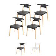 Scandinavian Dining Chair Set Of Four Modern Simple Wood And Plastic Basilio