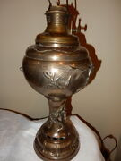 Rare Exceptional Kerosene Oil Parlor Banquet Table Lamp W/ Birds And Flowers