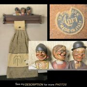 Antique 1925 Anri Hand Carved Wooden Utensil Towel Wall Rack 3 Bobble Heads